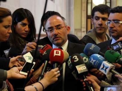 El expresidente de Adigsa y diputado de CiU en el Parlament Ferran Falcó tras declarar ante el TSJC.