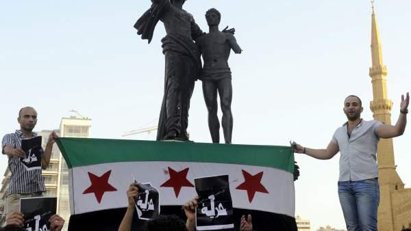 Protestas en Beirut sobre por injerencias de Hizbulá en Siria