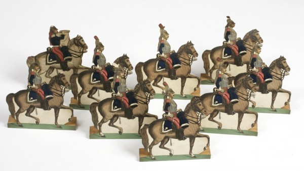 Cut out Prussian Cuirassier mounted soldiers 1870