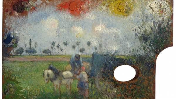 'La paleta del artista con paisaje, c. 1878'