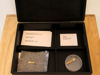 Installation at Clocktower Gallery. Sample collection box