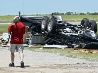 Remolque destrozado en el tornado de El Reno, Oklahoma