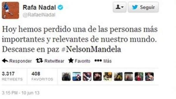 Rafa Nadal da por muerto a Nelson Mandela en su twitter