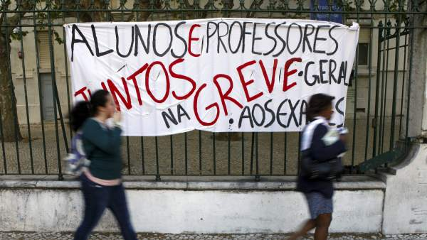 Huelga general de profesores en Portugal