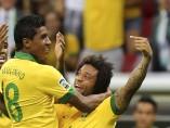 Marcelo celebra un gol de la selección de Brasil en la Copa Confederaciones 2013