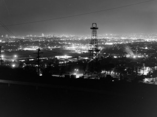 Cityscapes at night in Los Angeles County from the local mountains