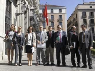 Los principales integrantes de la candidatura de Madrid 2020, con Ana Botella al frente.