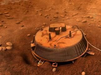 Recreación de la sonda Huygens en la superficie de Titán.