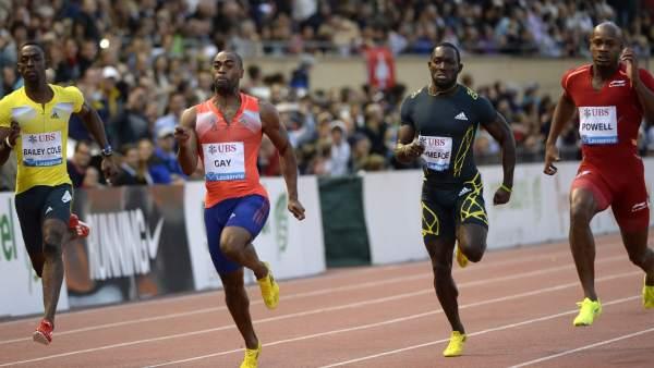 Tyson Gay gana en los 100 metros de la Reunión de Lausana 2013