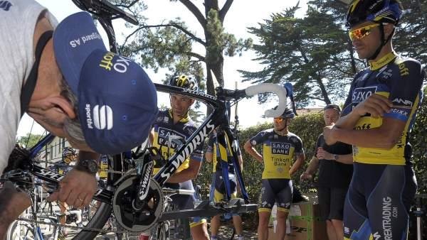 Alberto Contador, durante la primera jornada de descanso del Tour 2013