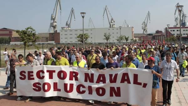 Protesta en los astilleros vizcaínos