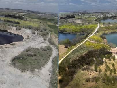 La balsa de aceite de Arganda del Rey, con su aspecto actual (izquierda) y cómo quedará dentro de unos años (derecha).