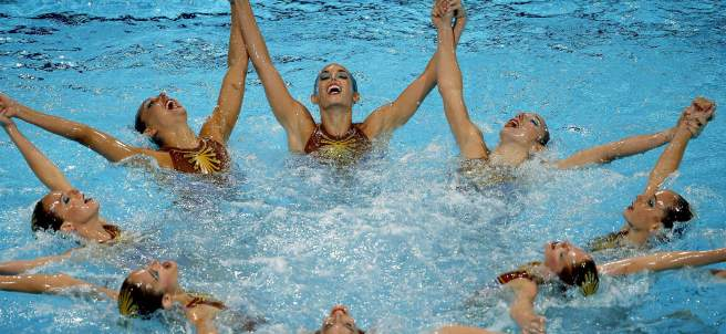 El equipo español de natación sincronizada