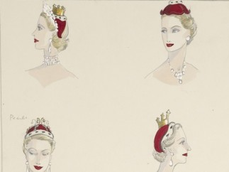 'A sketch of headdresses designed for peeresses', 1953,
