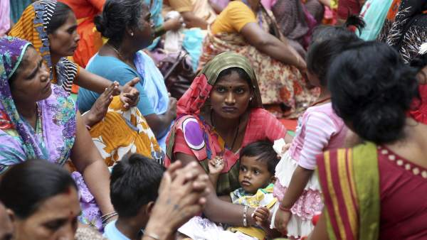 Manifestación de empleadas domésticas en Nueva Delhi