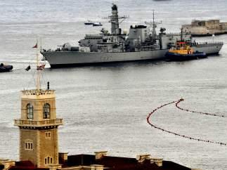 La fragata HMS Westminster, en Gibraltar