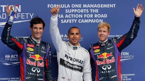 Mark Webber, Lewis Hamilton y Sebastian Vettel