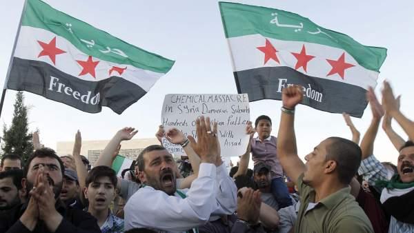 Protestas por el ataque químico en Siria