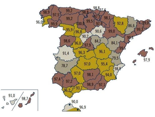 Mapa de la población cubierta por al menos una red de 3G.