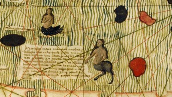 Three different types of sirens in the Indian Ocean on the Catalan Estense mappamundi of c.1460