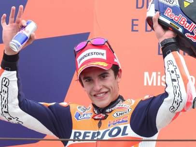 Marc Márquez, en el podio del Gran Premio de San Marino 2013
