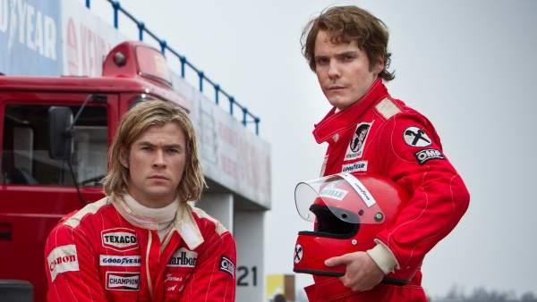 Daniel Brühl y Chris Hemsworth en 'Rush'