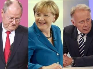 Peer Steinbrueck, Angela Merkel y Juergen Trittin