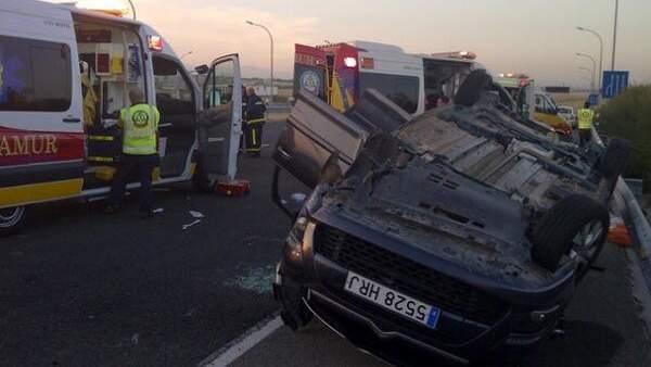 Imagen del accidente de tráfico cerca de la T-4