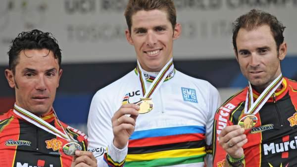 Purito, Rui Costa y Valverde, en el podio de los Mundiales