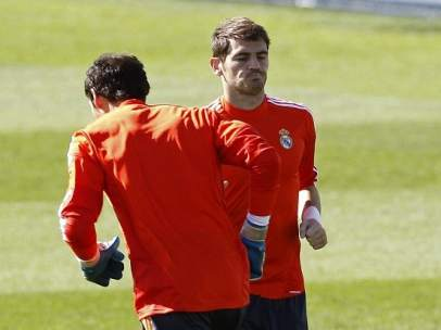 Casillas, entrenando con Diego López en Valdebebas