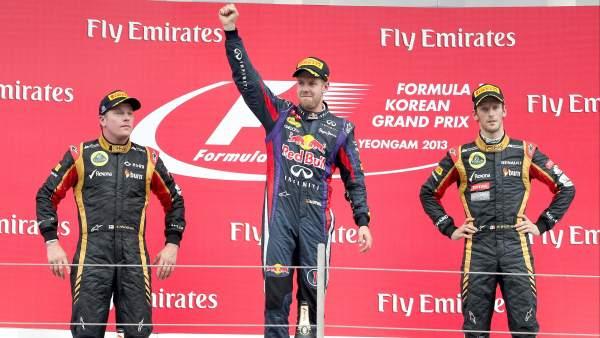 Raikkonen, Vettel y Grosjean