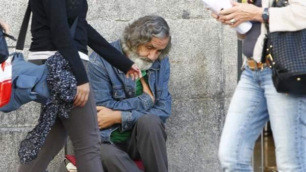 Mendigo en la Puerta del  Sol