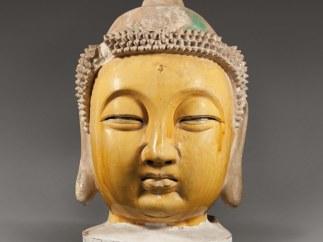 Buddha's head. Pottery