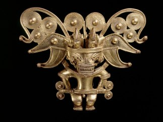 Anthropomorphic bat pectoral, Tairona, gold alloy, AD900-1600