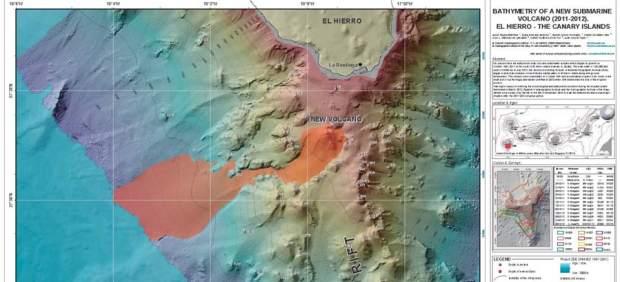 Investigadores del Instituto Hidrográfico de la Marina y el Instituto Español de Oceanografía han publicado un mapa del estado actual del volcán submarino de la isla de El Hierro