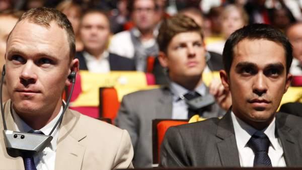 Chris Froome y Alberto Contador, en París