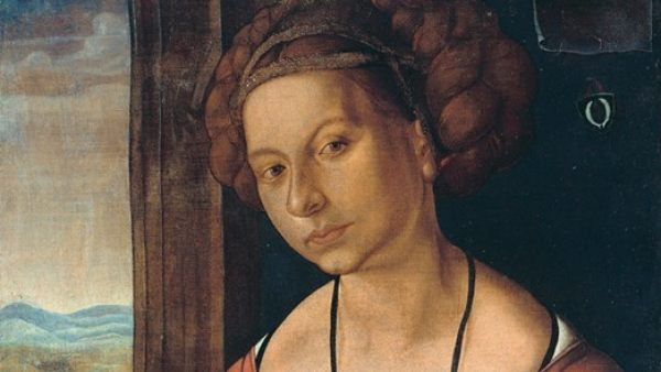 'Portrait of a young woman with braided hair', 1497