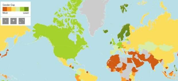 Mapa de la brecha de género