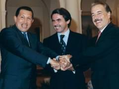 Hugo Chávez, José María Aznar y Andrés Pastrana
