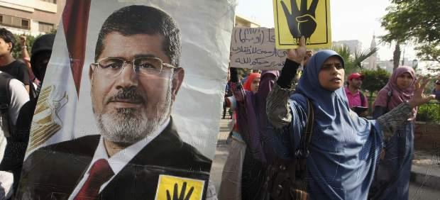 Manifestantes a favor de Morsi