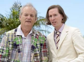 Bill Murray (i) y Wes Anderson (d) en la presentación en Cannes de 'Moonrise Kingdom'.