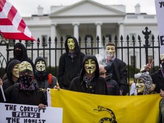 Protesta de Anonymous frente a la Casa Blanca