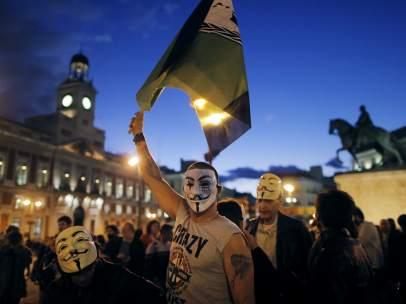 Protestas de Anonymous en la Plaza Mayor de Madrid