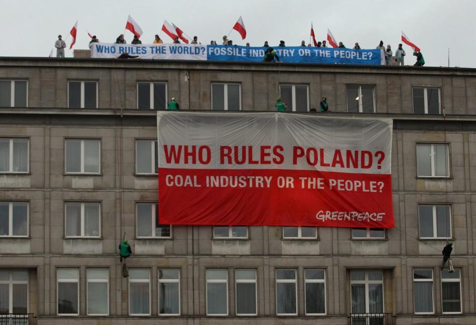 Protesta de Greenpeace en Polonia