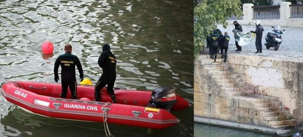 Dos momentos del rescate del cadáver en aguas del Guadalquivir