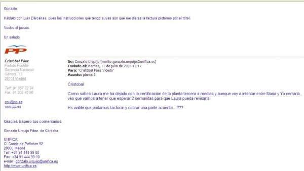 Correo del exgerente del PP Cristóbal Páez a la empresa Unifica explicando que los pagos los gestiona Luis Bárcenas