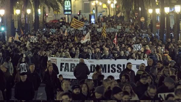 Manifestación contra el cierre de RTVV