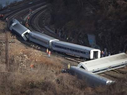 Tren descarrilado en Nueva York