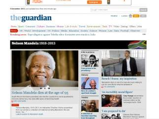 Portada de The Guardian sobre la muerte de Mandela