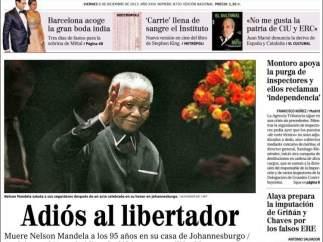 Portada de El Mundo con la muerte de Mandela